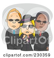 Royalty Free RF Clipart Illustration Of A Mourning Woman With Two Men On Gray