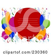 Royalty Free RF Clipart Illustration Of Lines On A Big Party Balloon With Other Balloons And Confetti