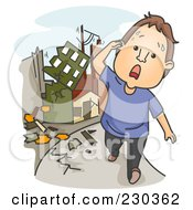 Royalty Free RF Clipart Illustration Of A Man Running During An Earthquake On Blue by BNP Design Studio
