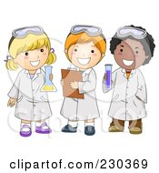 Royalty Free RF Clipart Illustration Of Diverse School Kids In Science Class
