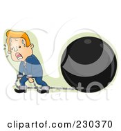 Royalty Free RF Clipart Illustration Of A Businessman Pulling A Huge Ball And Chain