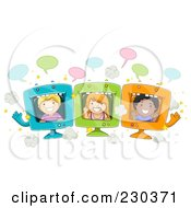 Royalty Free RF Clipart Illustration Of Diverse School Kids On Computer Screens