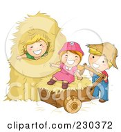Royalty Free RF Clipart Illustration Of Children Playing In Hay
