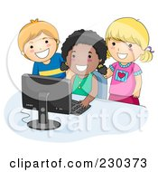 Royalty Free RF Clipart Illustration Of Diverse School Kids Using A Computer