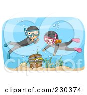 Royalty Free RF Clipart Illustration Of Children Snorkeling Near Treasure