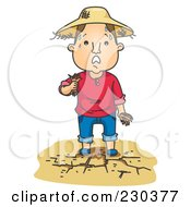 Royalty Free RF Clipart Illustration Of A Sweaty Farmer On Dry Land