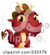 Royalty Free RF Clipart Illustration Of A Cute Red Baby Dragon by BNP Design Studio