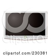 Royalty Free RF Clipart Illustration Of A Hanging White Flat Screen LCD Television by michaeltravers