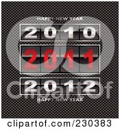 Royalty Free RF Clipart Illustration Of 2010 2011 And 2012 Counters With Happy New Year Text On Carbon Fiber by michaeltravers