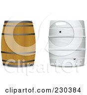 Royalty Free RF Clipart Illustration Of A Digital Collageof Wooden And Metal Beer Kegs by michaeltravers