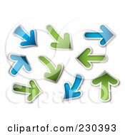 Digital Collage Of Blue And Green Arrows by michaeltravers