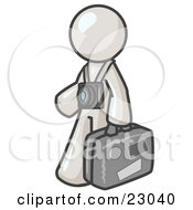 White Male Tourist Carrying His Suitcase And Walking With A Camera Around His Neck