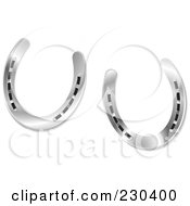 Royalty Free RF Clipart Illustration Of A Pair Of Shiny Silver Horseshoes