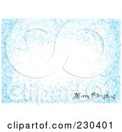 Royalty Free RF Clipart Illustration Of A Horizontal Merry Christmas Greeting On A Blue Snowflake Background With White Space by michaeltravers