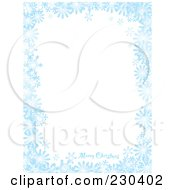 Royalty Free RF Clipart Illustration Of A Vertical Merry Christmas Greeting On A Blue Snowflake Background With White Space by michaeltravers