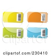 Royalty Free RF Clipart Illustration Of A Digital Collage Of Ticket Stubs With Bar Codes by michaeltravers
