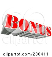 Royalty Free RF Clipart Illustration Of A 3d Red And Silver BONUS Word