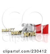 Royalty Free RF Clipart Illustration Of A 3d Gold Happy New Year Greeting By 2011 2 by MacX