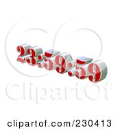 Royalty Free RF Clipart Illustration Of A 3d Red And Silver Digital Clock Ticking To Midnight by MacX