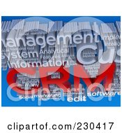 Royalty Free RF Clipart Illustration Of A 3d CRM Word Collage Over Blue by MacX