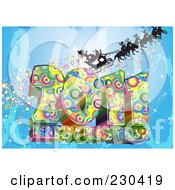 Royalty Free RF Clipart Illustration Of A Silhouetted Santa And Sleigh With Reindeer Over A Funkky 2011 Happy New Year Greeting On Blue by MacX