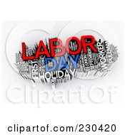 Royalty Free RF Clipart Illustration Of A 3d Labor Day Word Collage by MacX