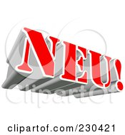 Royalty Free RF Clipart Illustration Of A 3d Red And Silver NEU Word