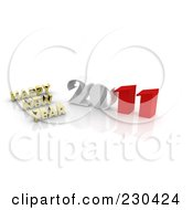 Royalty Free RF Clipart Illustration Of A 3d Gold Happy New Year Greeting By 2011 1 by MacX