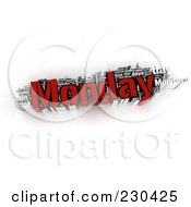 Royalty Free RF Clipart Illustration Of A 3d Monday Word Collage by MacX