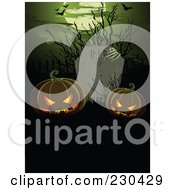Royalty Free RF Clipart Illustration Of Jackolanterns In A Graveyard