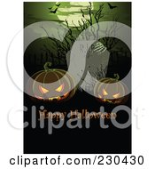 Royalty Free RF Clipart Illustration Of A Happy Halloween Greeting With Jackolanterns In A Graveyard