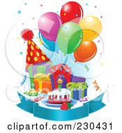 Royalty Free RF Clipart Illustration Of A Blank Banner With Birthday Balloons Presents Cake And A Party Hat With Blue Shading by Pushkin