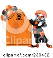 Royalty Free RF Clipart Illustration Of A Creepy Clown Presenting An Orange Tombstone Halloween Sign