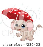Royalty Free RF Clipart Illustration Of A Cute Baby Elephant Carrying A Polka Dot Umbrella In The Rain