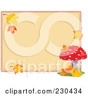 Royalty Free RF Clipart Illustration Of A Blank Tan Sign With Autumn Leaves And A Mushroom