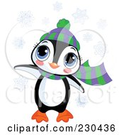Royalty Free RF Clipart Illustration Of A Cute Baby Penguin Wearing A Hat And Scarf In The Snow