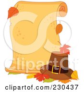 Royalty Free RF Clipart Illustration Of A Blank Thanksgiving Parchment Scroll With Autumn Leaves And A Pilgrim Hat