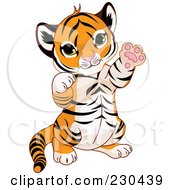 Royalty-Free (RF) Clipart Illustration of a Cute Baby Tiger Playing by Pushkin
