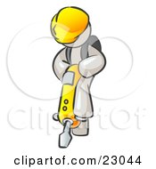 Clipart Illustration Of A White Construction Worker Man Wearing A Hardhat And Operating A Yellow Jackhammer While Doing Road Work by Leo Blanchette