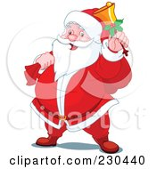 Royalty Free RF Clipart Illustration Of A Merry Santa Ringing A Bell