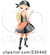 Royalty Free RF Clipart Illustration Of A Halloween Girl In A Pirate Costume by Pushkin