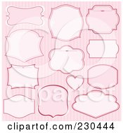 Royalty Free RF Clipart Illustration Of A Digital Collage Of Pink Label Designs Over Stripes by Pushkin