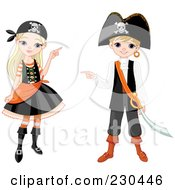 Royalty Free RF Clipart Illustration Of A Digital Collage Of A Halloween Girl And Boy In Pirate Costumes by Pushkin