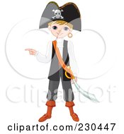 Royalty Free RF Clipart Illustration Of A Halloween Boy In A Pirate Costume by Pushkin