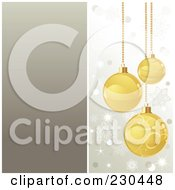 Royalty Free RF Clipart Illustration Of A Christmas Background Of Golden Baubles Over Silver