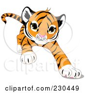Royalty Free RF Clipart Illustration Of A Cute Baby Tiger Crawling Forward