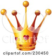 Royalty Free RF Clipart Illustration Of A Queens Golden Crown With Ruby Hearts