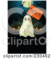 Royalty Free RF Clipart Illustration Of A Ghost Holding A Boo Sign By Jackolanterns by Pushkin