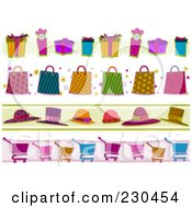 Royalty Free RF Clipart Illustration Of A Digital Collage Of Shopping Border Designs