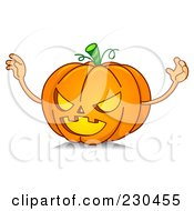 Royalty Free RF Clipart Illustration Of A Scary Halloween Pumpkin